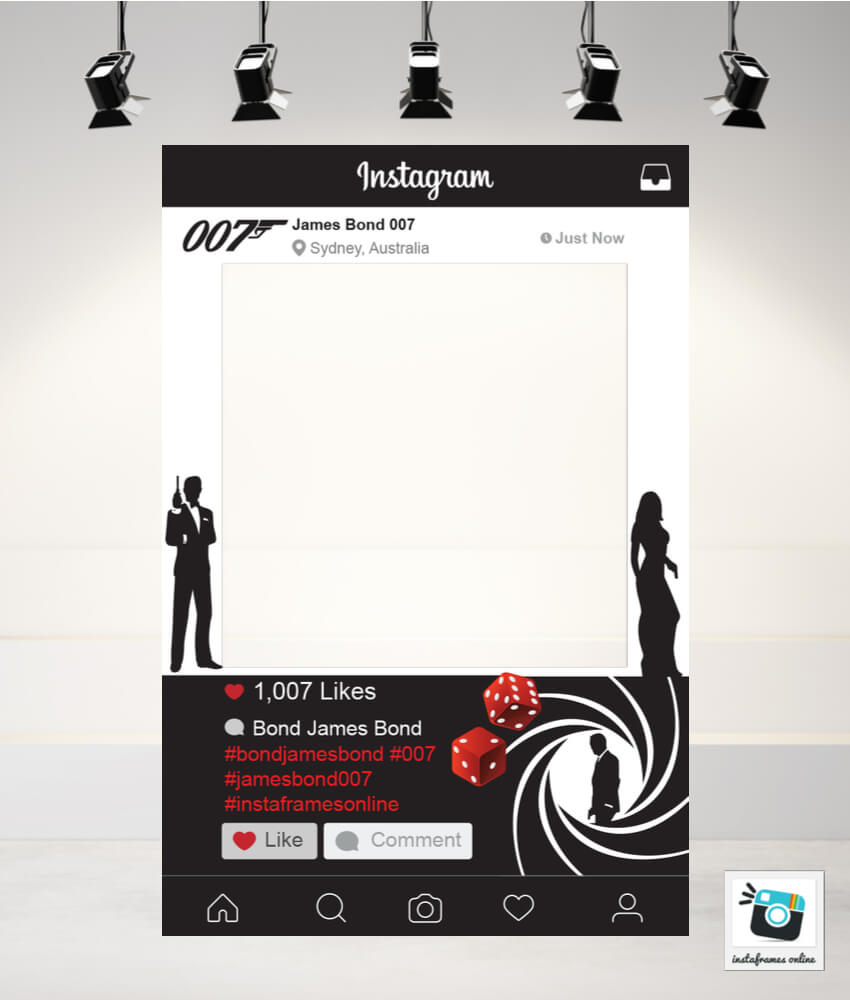 James Bond Instagram Frame Prop