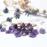 Amethyst Electroformed Copper Ring (Small Stone)