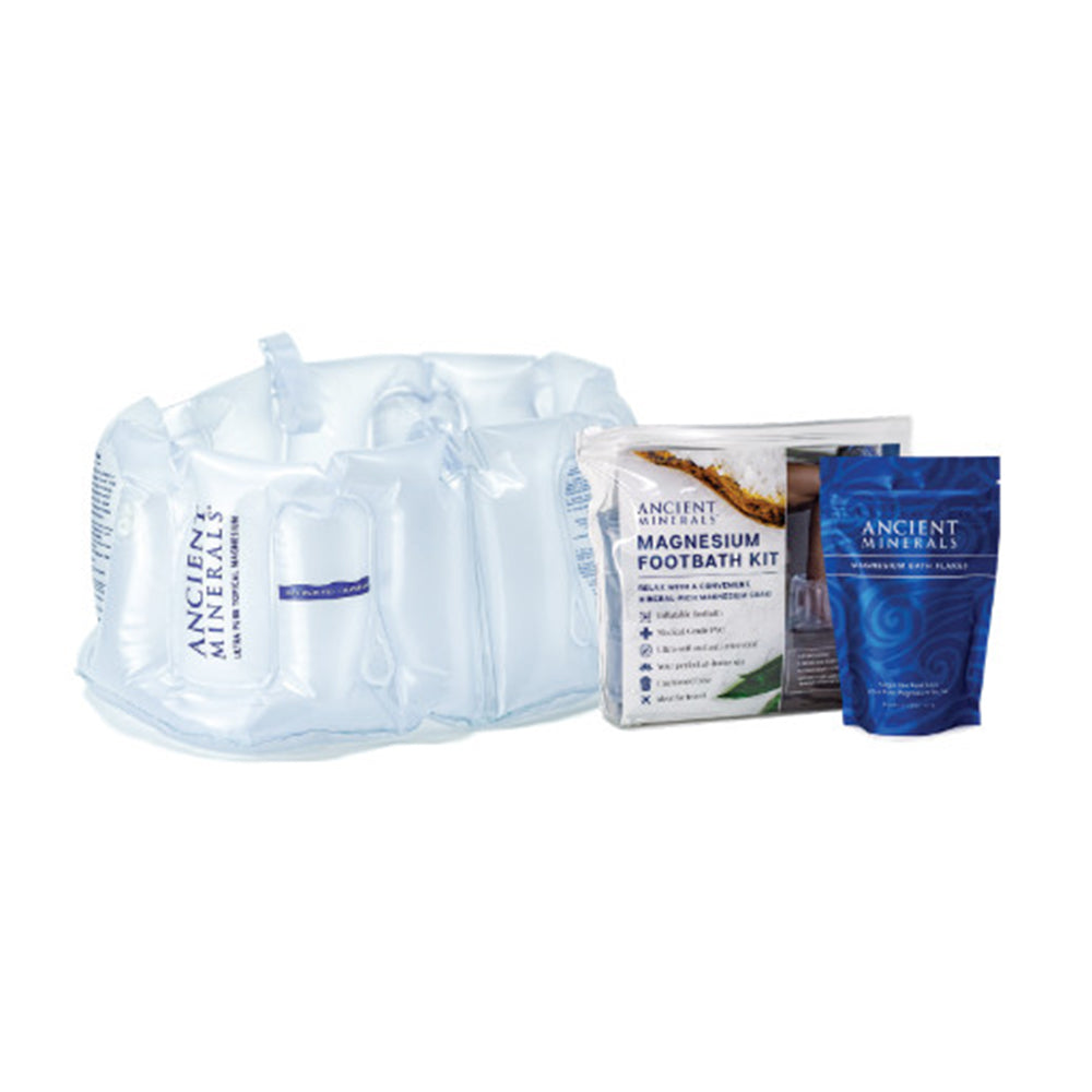 Ancient Minerals Magnesium (Inflata) Foot Bath Kit (contains: Reusable Foot bath, Storage pouch & Single Use Bath Flakes 150g)