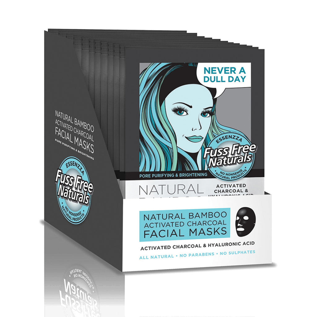 Essenza Facial Mask Activated Charcoal and Hyaluronic Acid Pack of 12