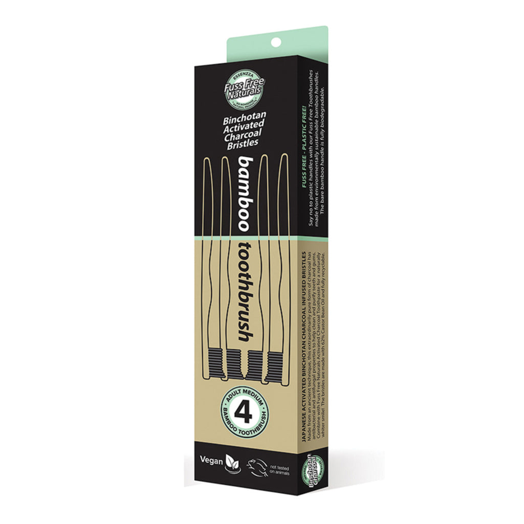 Essenzza FF Toothbrush Bamboo Activated Charcoal Medium 4pk