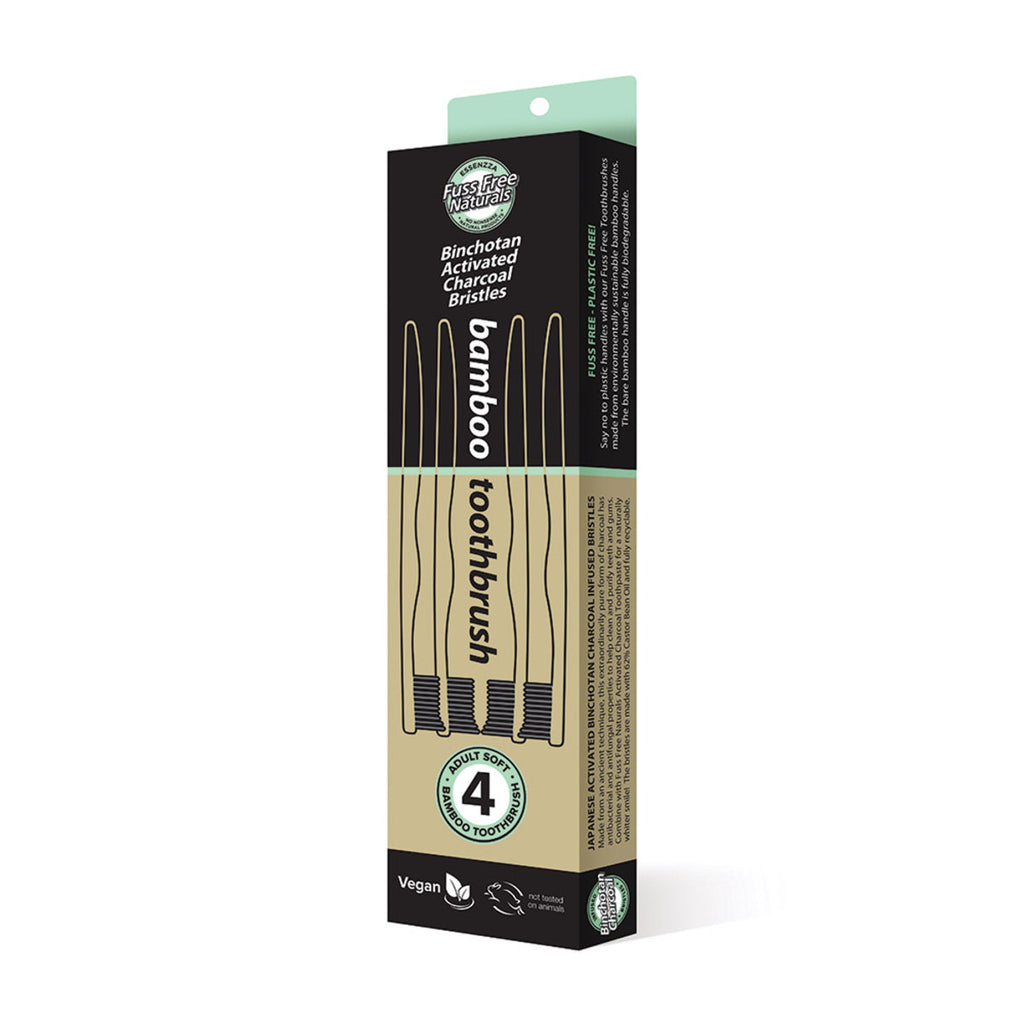 Essenzza FF Toothbrush Bamboo Activated Charcoal Soft 4pk