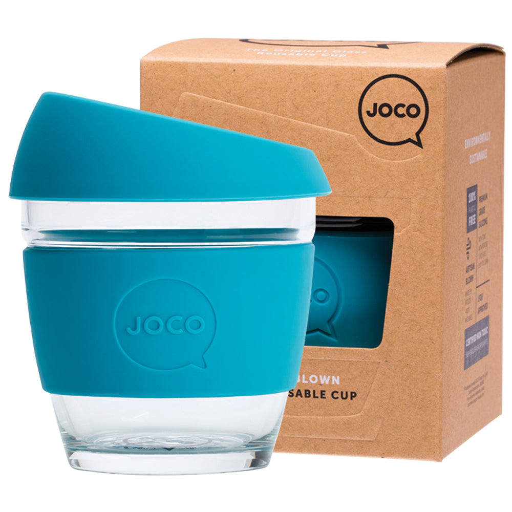 JOCO Reusable Glass Coffee Cup Blue 236ml