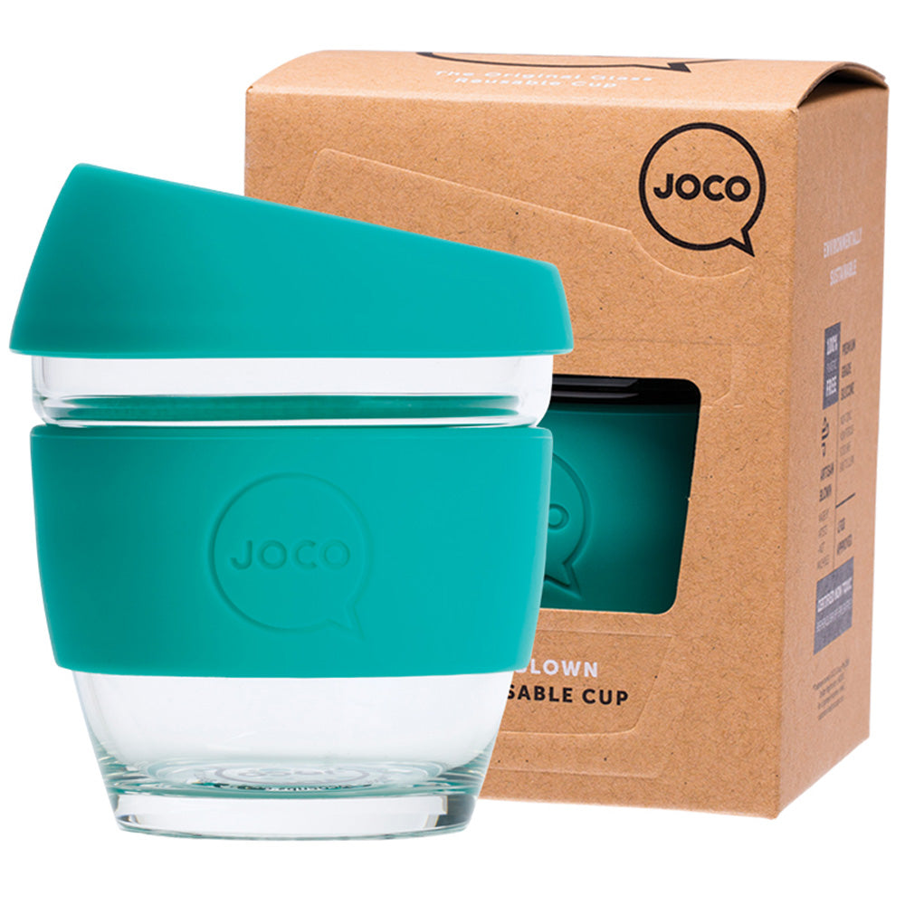 JOCO Reusable Glass Coffee Cup Mint 236ml
