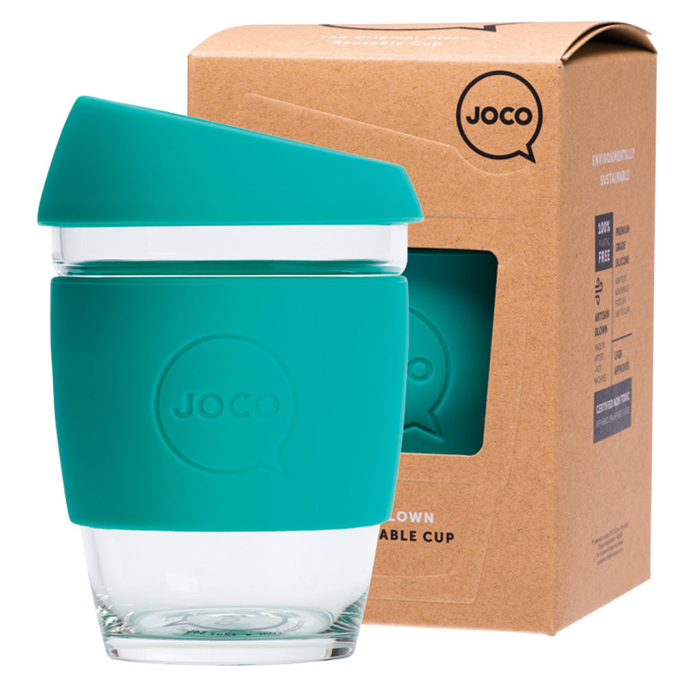JOCO Reusable Glass Coffee Cup Mint 354ml