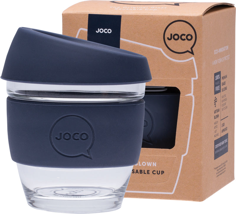JOCO Reusable Glass Coffee Cup Mood Indigo 236ml