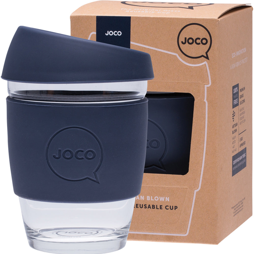 JOCO Reusable Glass Coffee Cup Mood Indigo 354ml