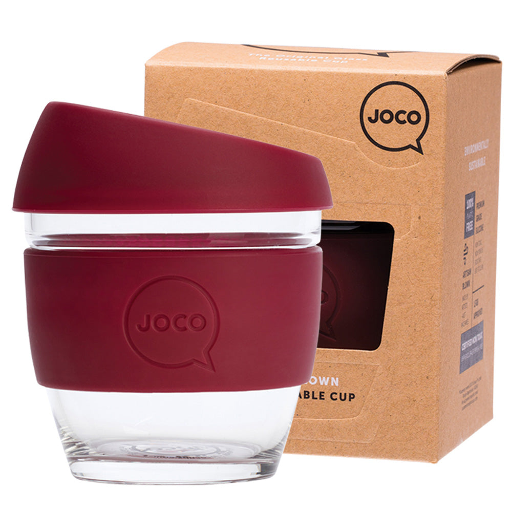 JOCO Reusable Glass Coffee Cup Ruby Wine 236ml