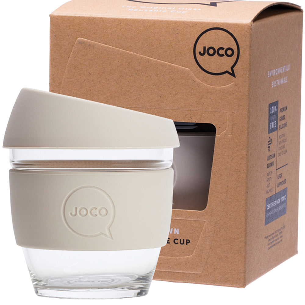 JOCO Reusable Glass Coffee Cup Sandstone 236ml