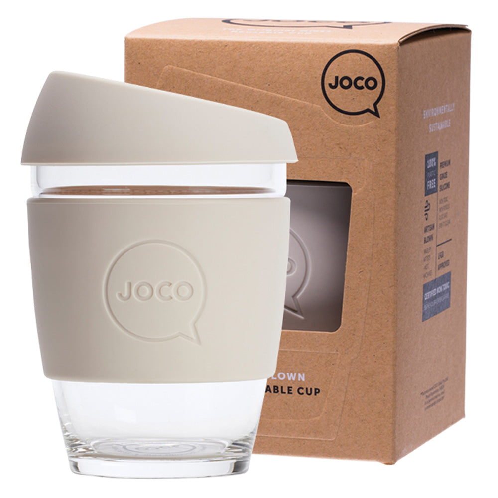 JOCO Reusable Glass Coffee Cup Sandstone 354ml