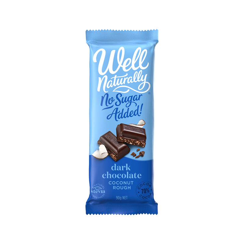 Well Naturally No Added Sugar Block Dark Chocolate Coconut Rough 90g