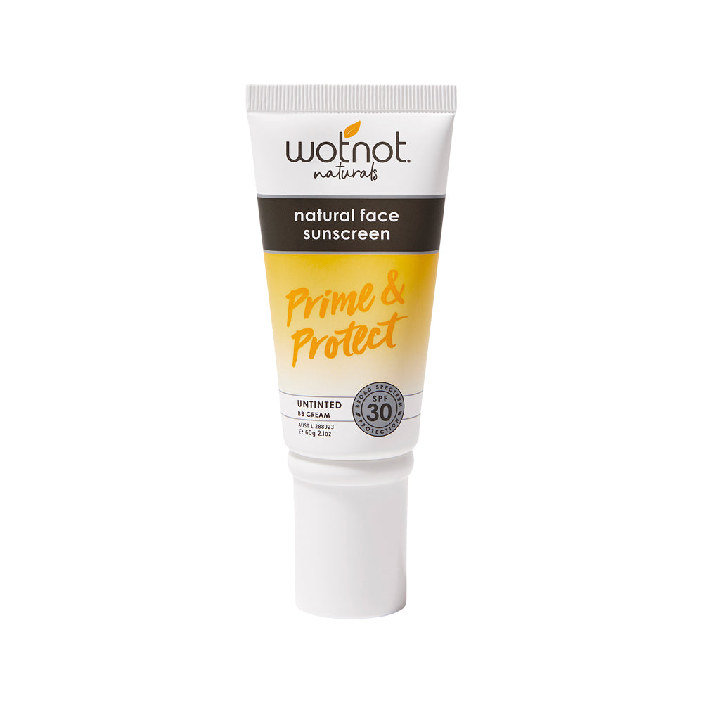 Wotnot Natural Face Sunscreen SPF 30 (Prime & Protect) Untinted BB Cream 60g