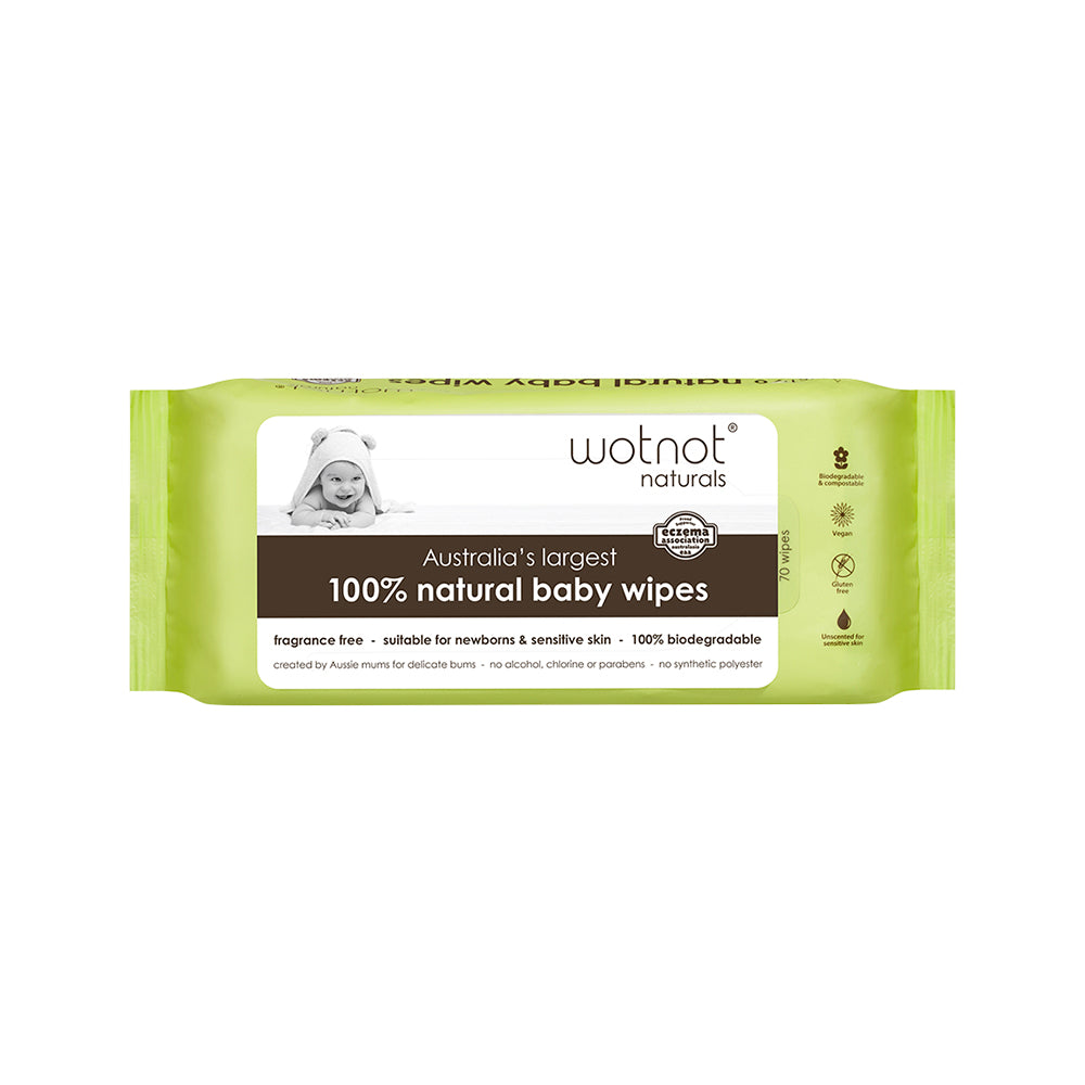 Wotnot 100% Natural Baby Wipes x 70 Pack (soft pack)