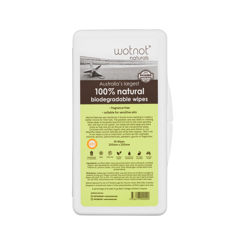 Wotnot 100% Natural Biodegradable Wipes x 20 Pack (Travel Hard Case)