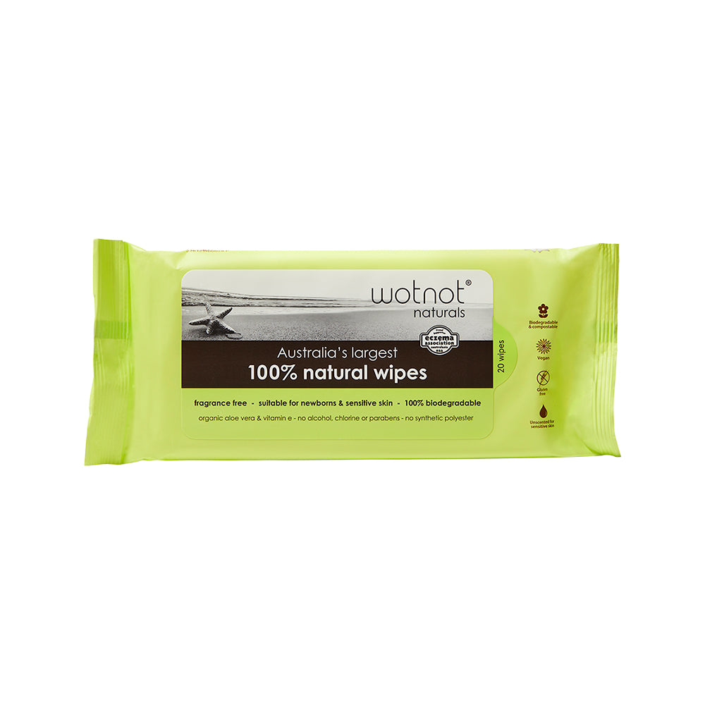 Wotnot 100% Natural Wipes x 20 Pack (Travel Hard Case Refill)