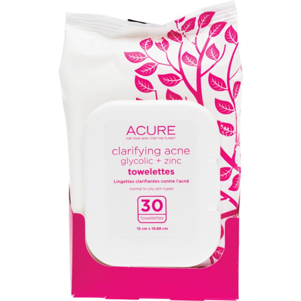 Acure Clarifying Acne Towelettes 30 Glycolic and Zinc