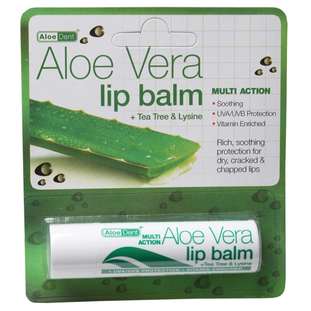 Aloe Dent Lip Balm 4g Aloe Vera with Tea Tree & Lysine