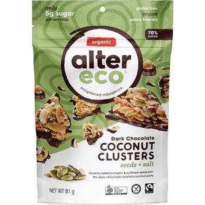 Alter Eco Dark Chocolate Coconut Clusters Seeds & Salt 91g