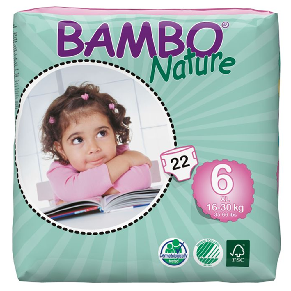 Bambo Nature Eco Disposable XL Nappies 16 - 30kg (Size 6)