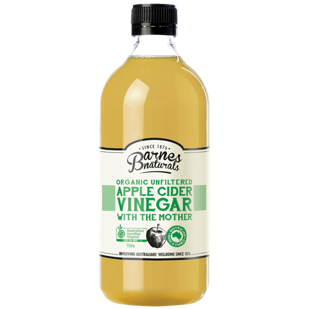 Barnes Naturals Apple Cider Vinegar 1L Organic & Unfiltered