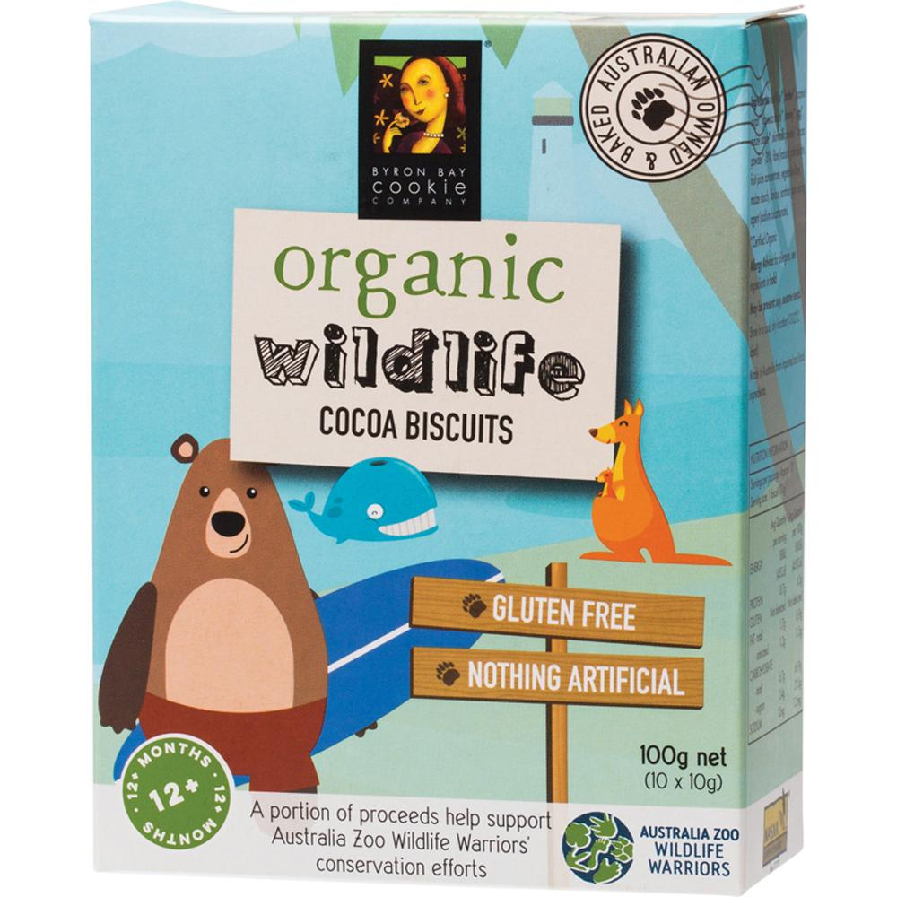 Byron Bay Cookies Organic Wildlife Biscuits Cocoa 100g