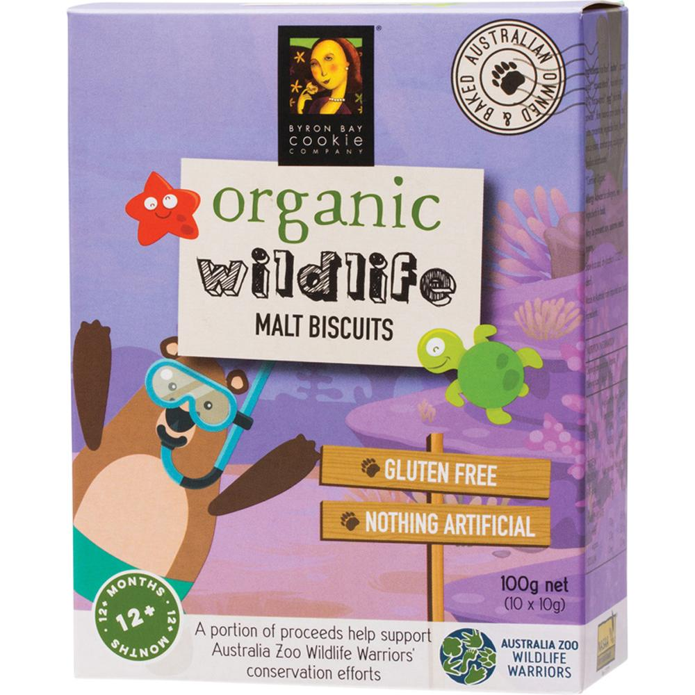 Byron Bay Cookies Organic Wildlife Biscuits Malt 100g