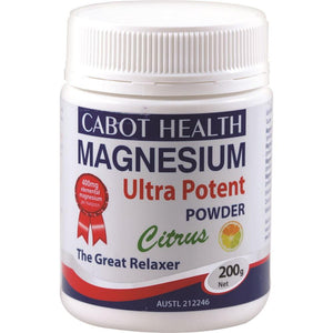 Cabot Health Magnesium Ultra Potent Citrus Powder 200g