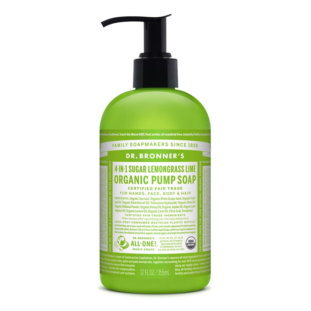 Dr Bronner's Organic Pump Soap Lemongrass Lime