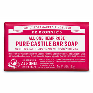 Dr Bronner's Pure-Castile Bar Soap 140g Rose