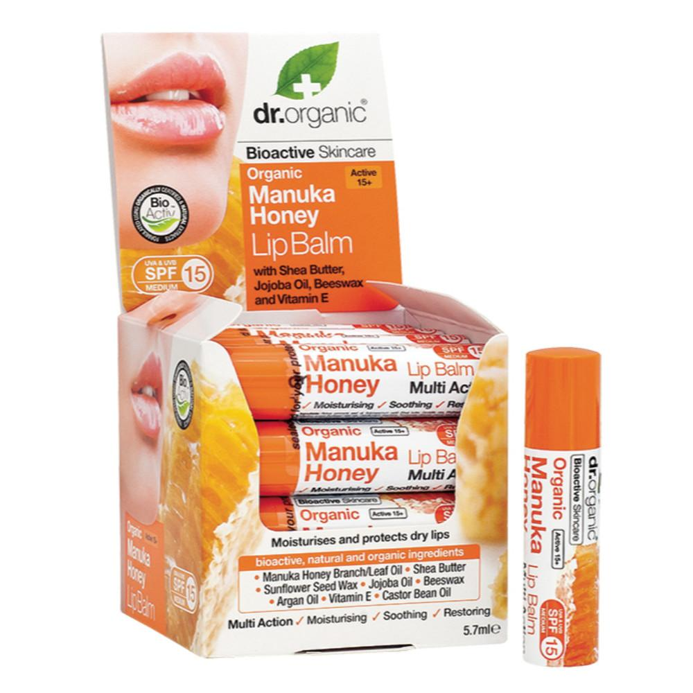 Dr Organic Lip Balm - SPF 15 5.7ml Organic Manuka Honey