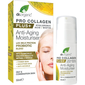 Dr Organic Pro Collagen Plus+ Anti Aging Moisturiser With Probiotic 50ml