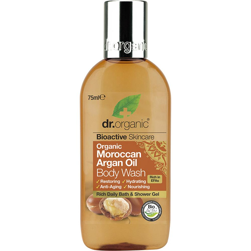 Dr Organic Travel Size Body Wash Organic Moroccan Argan Oil 75ml