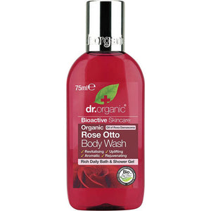 Dr Organic Travel Size Body Wash Organic Rose Otto 75ml