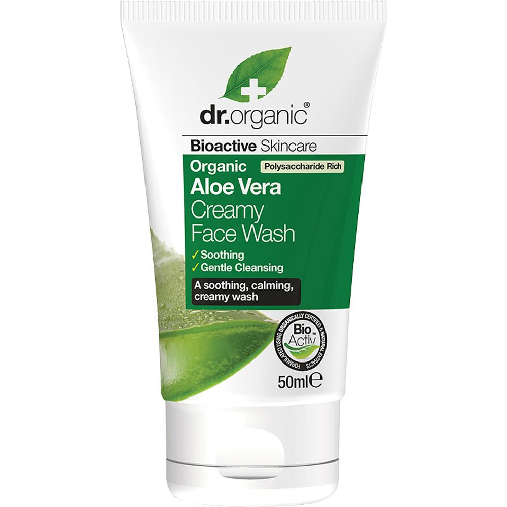 Dr Organic Travel Size Creamy Face Wash Organic Aloe Vera 50ml