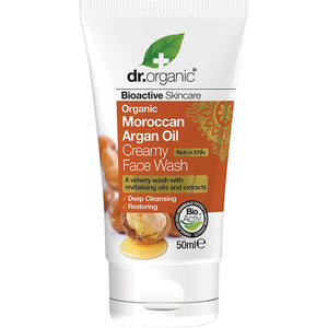Dr Organic Travel Size Creamy Face Wash Organic Moroccan Argan Oil 50ml