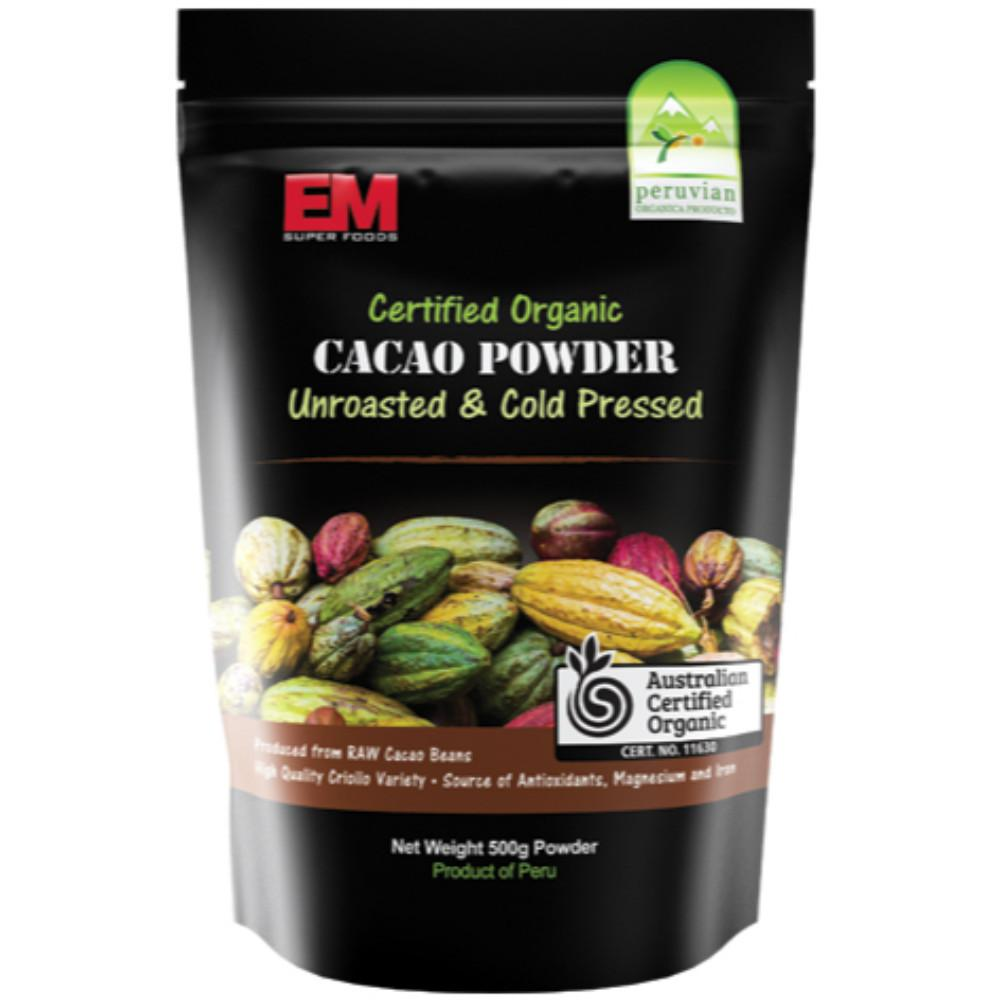 Em Super Foods Cacao Powder 500g Unroasted + Cold Pressed