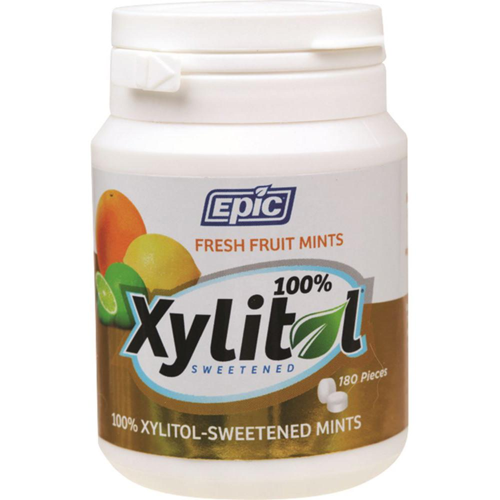 Epic Xylitol Dental Mints Fresh Fruit 180pc Tub