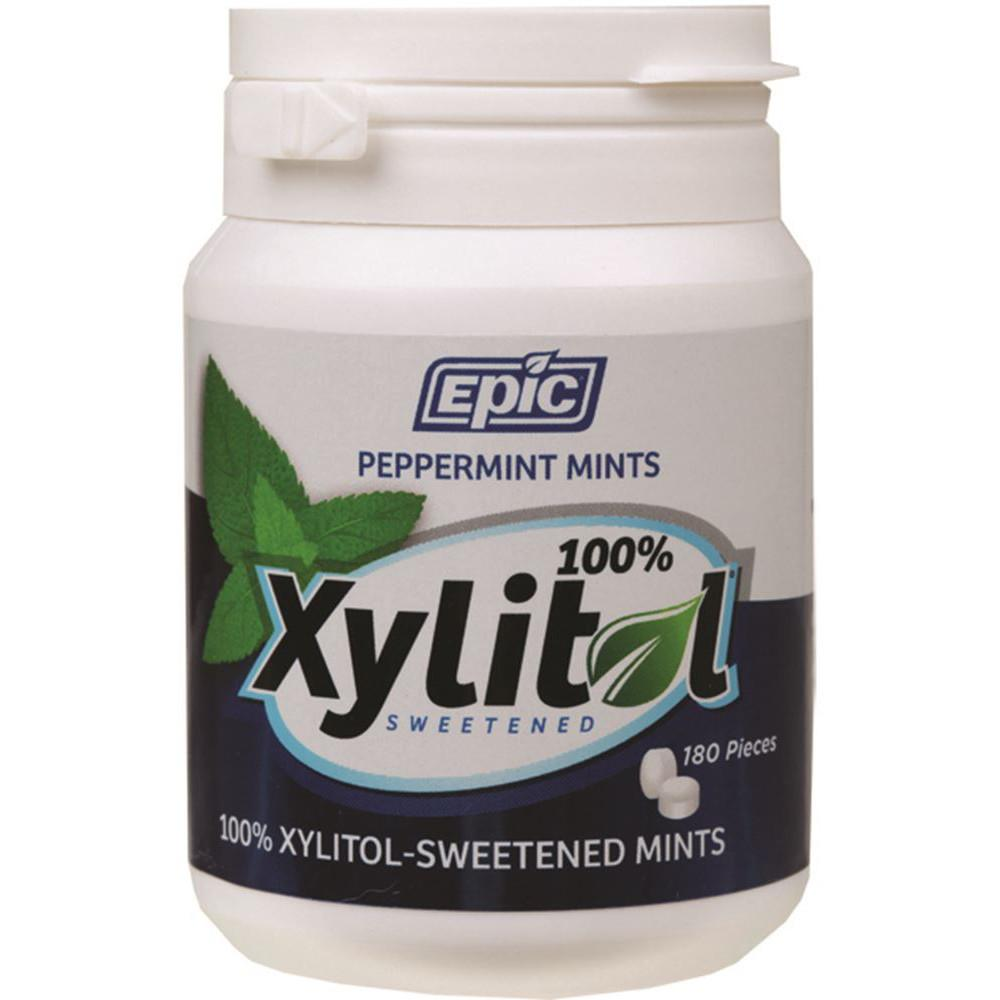 Epic Xylitol Dental Mints Peppermint 180pc Tub