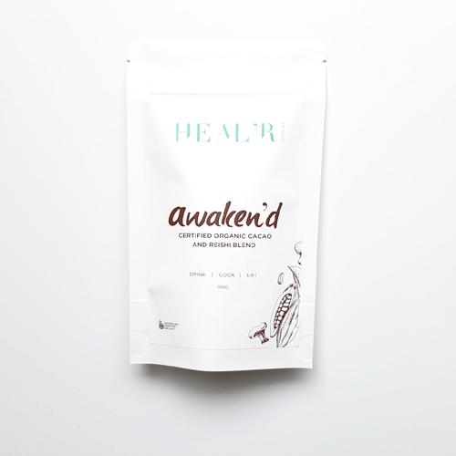 Heal'r Awaken'd Certified Organic Cacao and Reishi Blend 40g