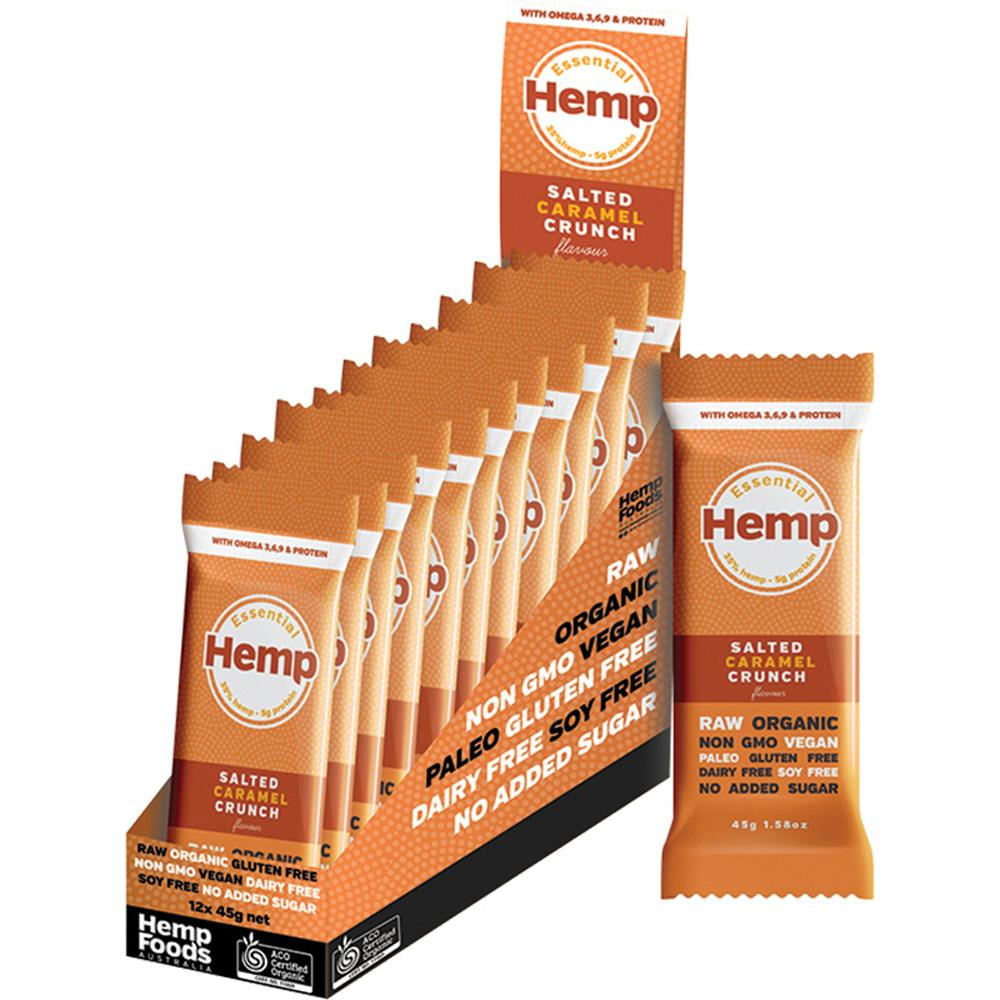 Hemp Foods Australia Essential Hemp Snack Bar Salted Caramel Crunch 12 x 45g
