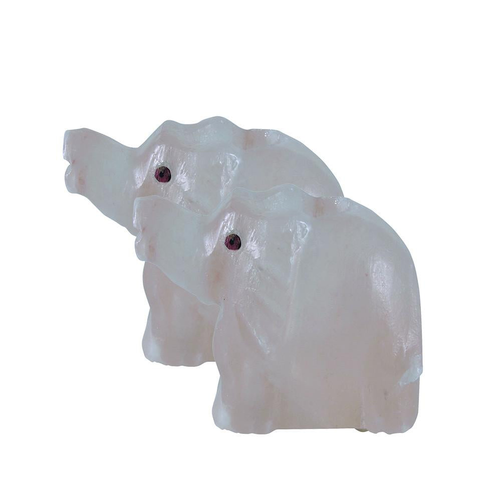 LinenCo Salt Crystal Tea Light Elephant x 2