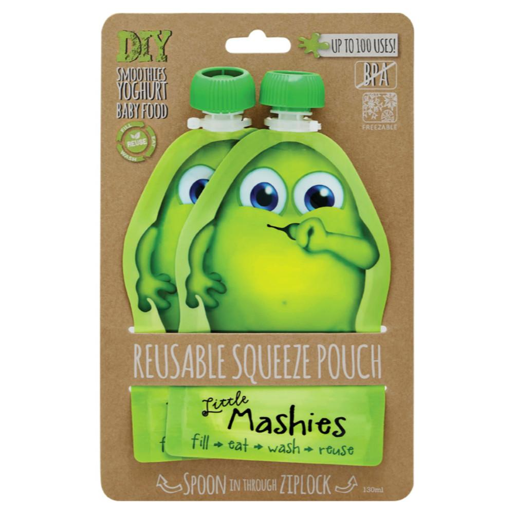Little Mashies Reusable Squeeze Pouch 2x130ml - Green