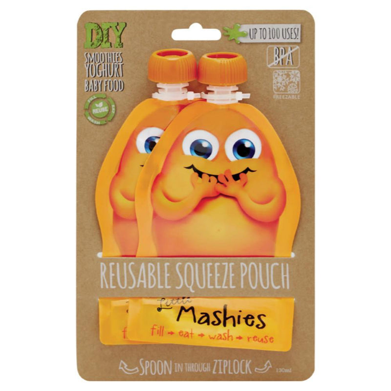 Little Mashies Reusable Squeeze Pouch 2x130ml - Orange