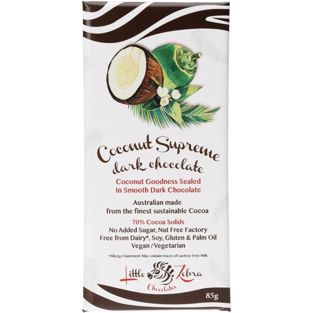 Little Zebra Chocolate Coconut Supreme 85g Dark Chocolate