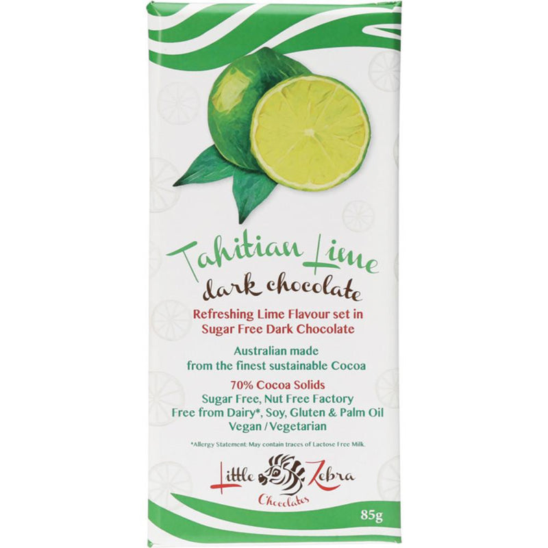 Little Zebra Chocolate Tahitian Lime 85g Dark Chocolate