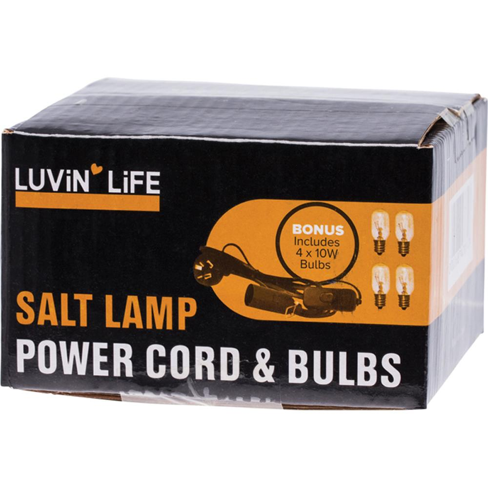 Luvin Life Salt Lamp Power Cord & 4 Bulbs 10 Watt x 4