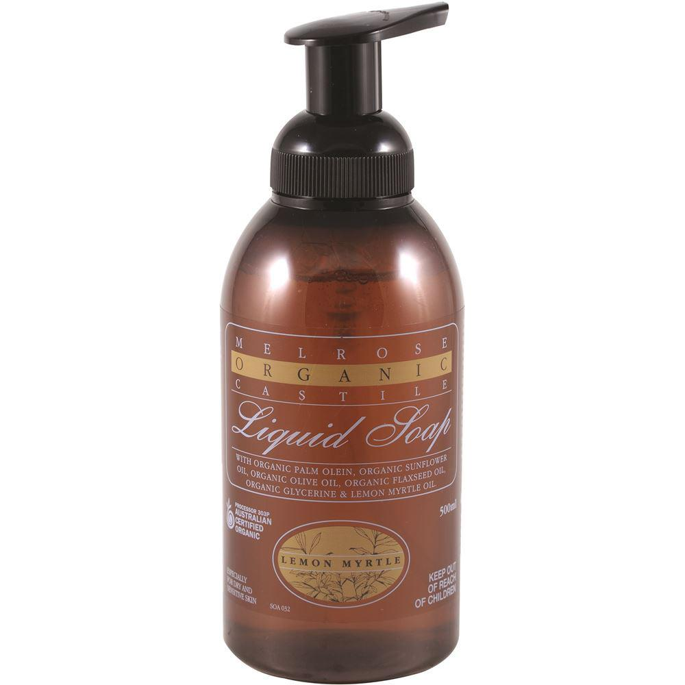 Melrose Organic Castile Soap Lemon Myrtle Pump 500ml
