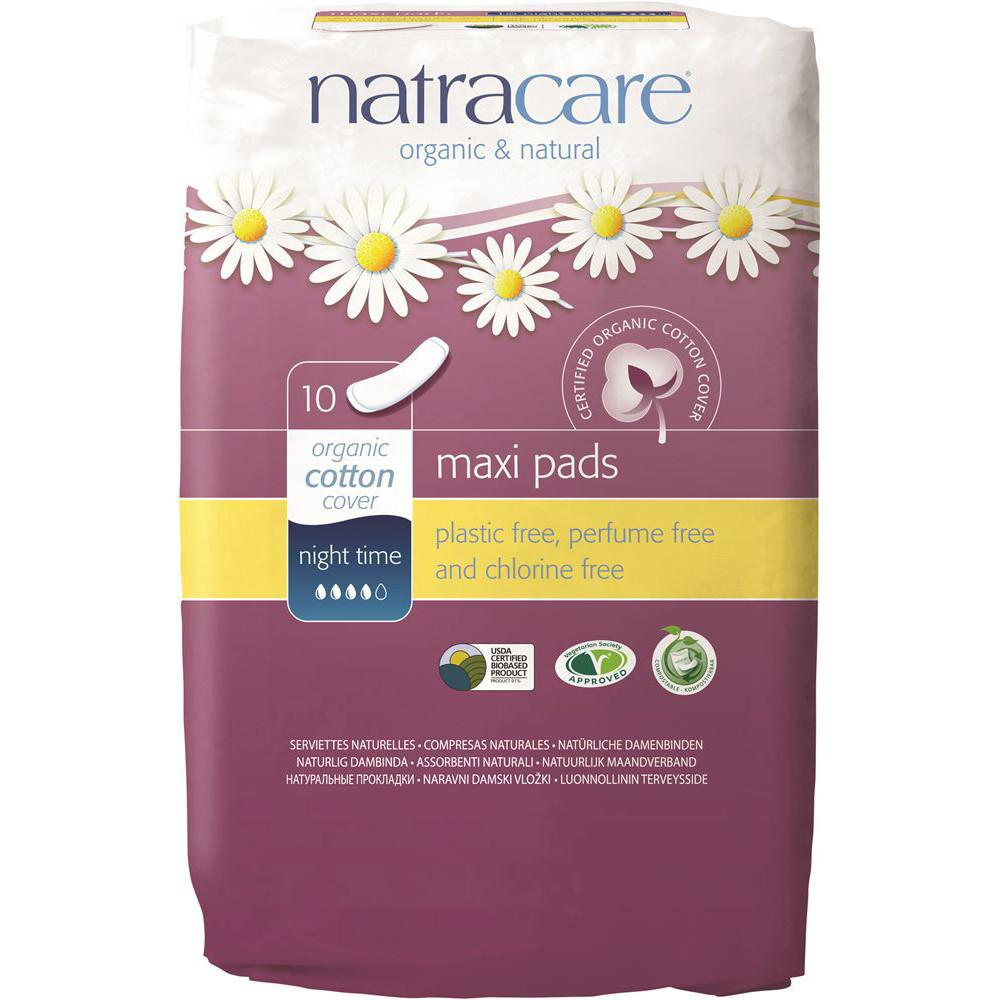 Natracare Maxi Pads Night Time with Organic Cotton Cover x 10 Pack