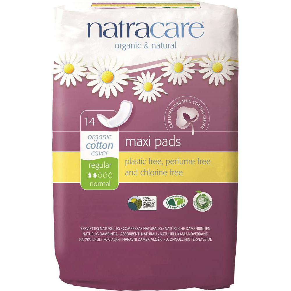 Natracare Maxi Pads Regular with Organic Cotton Cover x 14 Pack