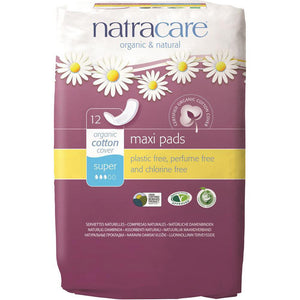 Natracare Maxi Pads Super with Organic Cotton Cover x 12 Pack